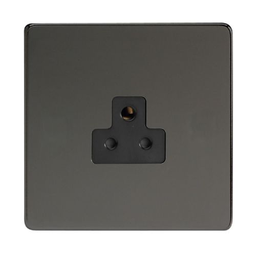 Varilight XDIRP2ABS Screwless Iridium Black 1 Gang 2A Round Pin Plug Socket